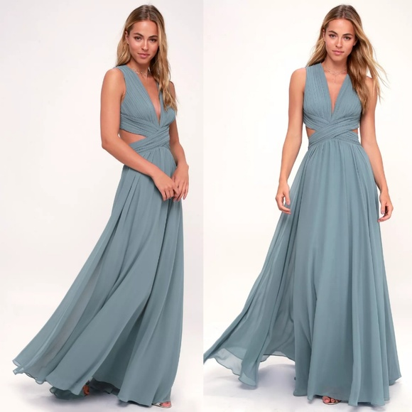 8ac394eb0f190 Lulu's Dresses | Vivid Imagination Slate Blue Cutout Maxi Dress S ...